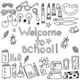 Szkolni elementy ustawiający: kula ziemska, falcówki, kalendarz, karta, dzienniczek, ołówki, książki, papiery ilustracja wektor