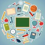 Szkolni narzędzia i dostawy na błękitnym tle Obraz Stock