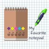 Szkolni notatniki w trzy kolorach i pióro na białym tle ilustracja wektor