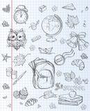 Szkolni tematy plecak, farby, kula ziemska i jesień liście, Czarny kontur ilustracji
