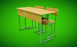 Szkolny biurko i krzesła stać na czele 3d odpłacamy się royalty ilustracja