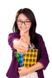Szkolny dziewczyna kciuk up odizolowywający Obrazy Stock