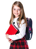 Szkolny dziewczyny dziecko odizolowywający na bielu zdjęcie stock