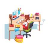 Szkolny dziewczyny studiowanie i robić przy stołem praca domowa ilustracja wektor