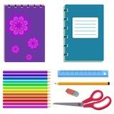 Szkolny materiały - notatnik, gumka, ołówek Fotografia Royalty Free