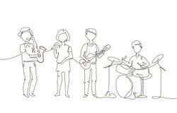 Szkolny muzyczny zespół - jeden kreskowa projekta stylu ilustracja Zdjęcia Royalty Free