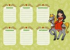 Szkolny rozkład zajęć dla dzieci z dniami tydzień princess Zdjęcie Stock