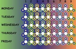 Szkolny rozkład zajęć z kolorowymi wiercipięta kądziołkami dla dzieciaków i nastolatków, czasu prześcieradło Fotografia Royalty Free