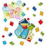 Szkolny sztandar, kolorów baloons z schoolbag, kolor rezerwuje Zdjęcia Stock
