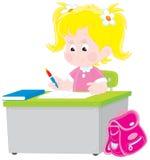 szkolny uczennicy testa writing Zdjęcie Royalty Free