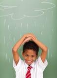Szkolny ucznia deszcz zdjęcia stock