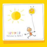 Szkolny wakacje, dziecko wakacje karta ilustracja wektor