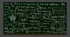 Szkolny wektorowy blackboard z ręcznie pisany matematycznie formułami, obliczeniami i postaciami, ilustracja wektor
