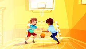 Szkolnych chłopiec sztuki koszykówki wektoru ilustracja royalty ilustracja