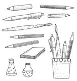 Szkolnych dostaw notatnika Szkicowi Doodles Zdjęcia Stock