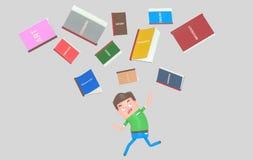 Szkolnych książek spada puszek na okaleczającym uczniu ilustracja wektor