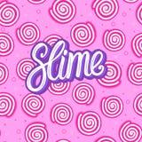 Szlamowa literowanie inskrypcja Round cukierki cukierek bezszwowy wzoru Wektorowa ilustracja na różowym tekstury tle fotografia stock