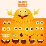 Szlamowej żółtej smiley twarzy kreatywnie zestaw ilustracja wektor