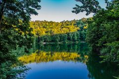 Szmaragdowe Lake in Szczecin, Poland. Its name has the origin in the color of the water royalty free stock photos