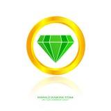 Szmaragdowy diamentu kamień Zdjęcia Royalty Free