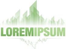 Szmaragdowy miasto zieleni loga projekt Zdjęcie Stock