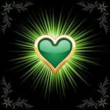 szmaragdowy serce Obrazy Royalty Free