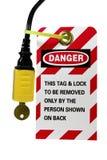 sznur elektryczny blokuje elektryczny etykietkę zdjęcie stock