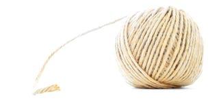 Sznura skein, jutowa rolka, tradycyjna piłka odizolowywająca na białym tle Zdjęcie Stock