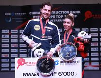 SZOCS Bernadette and Timo Boll winners. Montreux, Switzerland, 3 February 2018. Awards at the ITTF European Top 16 Stock Photo
