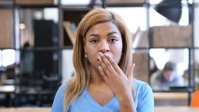 Szok, spęczenie Czarna dziewczyna Reaguje na stracie, portret Zdjęcia Stock