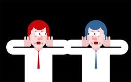 Szok w biurze Panik ludzie umysłowy szarpnięcie i strach royalty ilustracja