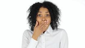 Szok, Wzburzona Afro amerykanina kobieta Zdjęcia Stock