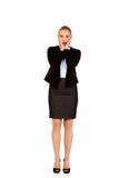Szokować biznesowej kobiety mienia ręki na policzkach Obraz Stock