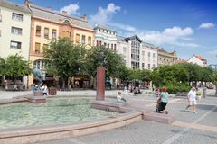 Szombathely, Hungary. AUGUST 10, 2012: Tourists visit Old Town in . In 2011 tourism receipts in Hungary brought 4.03 billion EUR to national economy Royalty Free Stock Photography