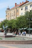 Szombathely, Hungary. AUGUST 10, 2012: People visit Old Town in . Szombathely is the 10th largest city in Hungary with 79,590 people Royalty Free Stock Photo