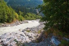 Szorstka halna rzeka w Szwajcarskich Alps, Grindelwald, Europa fotografia royalty free