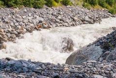 Szorstka halna rzeka w Szwajcarskich Alps, Grindelwald, Europa zdjęcia royalty free