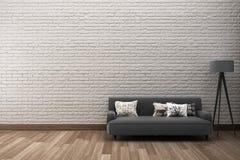 szorstki ściana z cegieł z kanapą Zdjęcie Royalty Free