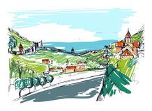 Szorstki szkic mała Gruzińska grodzka ulica, budynki i drzewa przeciw górom na tle, Krajobraz z royalty ilustracja