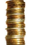 Szpaltowy złocisty srebnych monet zbliżenie Obraz Stock