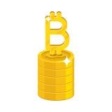 Szpaltowych złocistych bitcoins kreskówki odosobniona ikona Zdjęcia Stock