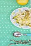 Szparagowy i grochowy risotto obraz stock