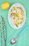 Szparagowy i grochowy risotto Obrazy Stock