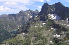 从Szpiglasowa通行证的一个看法在Tatra山 库存图片