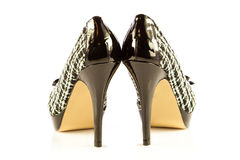 Szpilek kobiet buty na białych tło akcesoriach obrazy stock