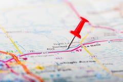 Szpilka Na mapie Floryda zakończenie fotografia stock