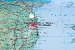 Szpilka na mapy withh Dublin mieście Obraz Stock