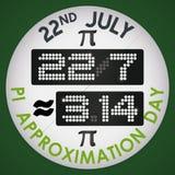 Szpilka z Cyfrowym pokazem dla Pi aproksymaci dnia, Wektorowa ilustracja Fotografia Stock