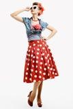 Szpilki młoda kobieta w rocznika amerykanina stylu Zdjęcie Stock