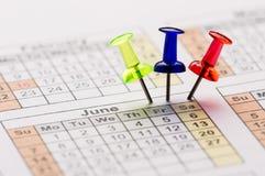 Szpilki na kalendarzu Fotografia Stock